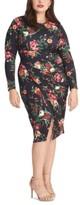 Rachel Roy Plus Size Floral Print Bodycon Midi Dress