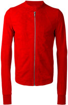 Rick Owens round collar jacket - men - Cotton/Cupro/Viscose/Lamb Nubuck Leather - 50