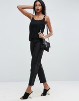 Asos Tux Cigarette Pants with Sheer Fringe Detail