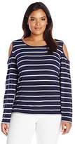Calvin Klein Women's Plus Size Cold Shoulder Striped Top