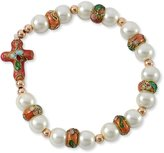 Catholica Shop Catholic Bracelets - Cross Bracelet with Pink Cloisonne Rondelle and White simulated Glass Pearl Beads