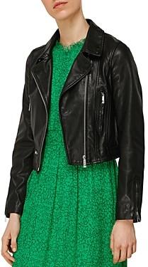 Whistles India Cropped Leather Moto Jacket