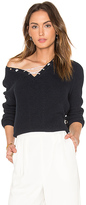 525 America Cotton Shaker Faux Lace Up Sweater in Blue