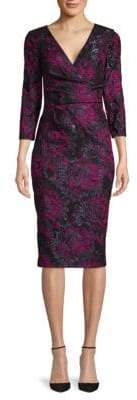 Theia Wrap Jacquard Dress