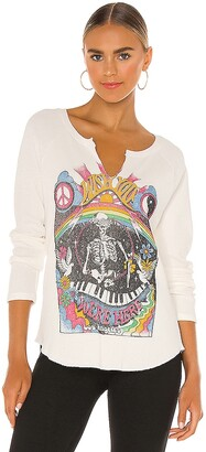 Daydreamer Wish You Were Here Notch Neck Thermal Tee