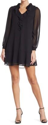 Kensie Ruffled Long Sleeve Chiffon Shift Dress