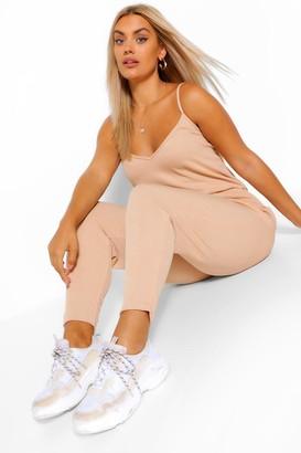 boohoo Plus Rib Basic Cami Jumpsuit