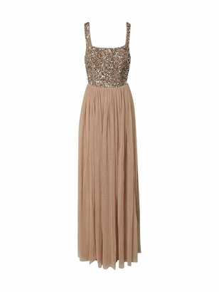 Maya Deluxe Women's Maya Taupe Blush Strappy Delicate Sequin Maxi Dress Bridesmaid 10