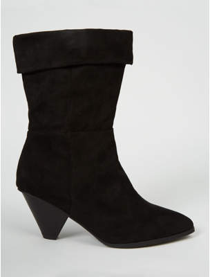 George Wide Fit Black Suede Effect Cone Heel Cuffed Boots