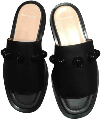 Carven Black Leather Sandals