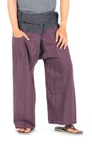 CandyHusky 2 Tone Striped Cotton Fisherman Pants Workout Yoga Pants