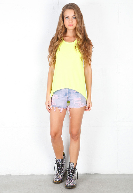 Chaser Deep Armhole Tank in Neon Pink -