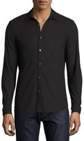 Theory Aden Core Pique Button-Front Shirt, Black
