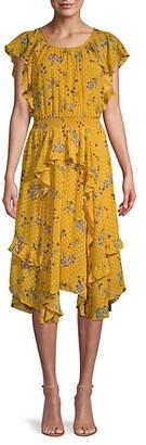 ASTR the Label Polk Dot Floral-Print Ruffle Dress