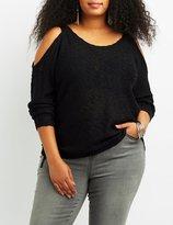 Charlotte Russe Plus Size Slub Knit Cold Shoulder Sweater