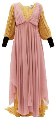 Gucci Layered Pleated Habotai And Silk-chiffon Gown - Womens - Purple Multi