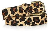 Topshop Leopard Print Genuine Calf Hair Belt