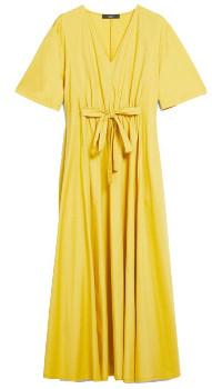 Max Mara Weekend Yellow Cotton Bairo Jersey V Neckline Dress - xs