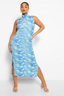 boohoo Plus Tie Dye High Neck Bodycon Midaxi Dress
