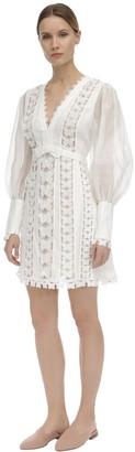 Zimmermann Organza Mini Dress W/Butterfly Appliques