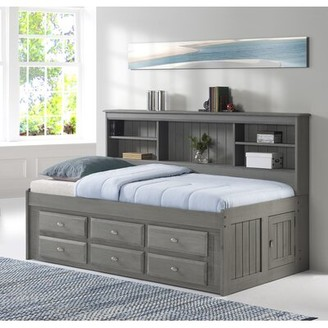 Harriet Bee Gilbertson Charcoal Bookcase Daybed with Drawers Size: Twin, Bed Frame Color: Charcoal