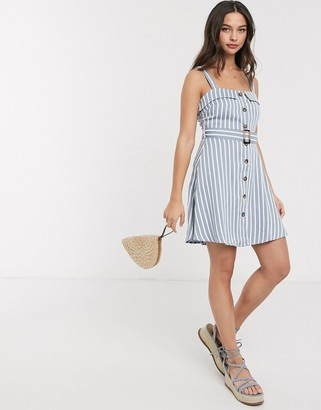 Gilli button down sun dress with belt in blue and white stripe