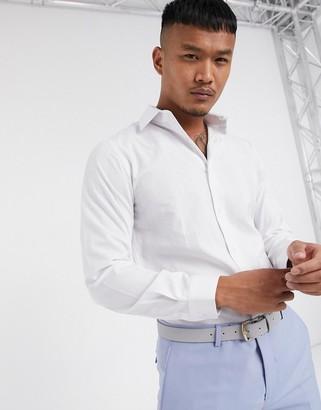 Lockstock Charter point collar shirt in white stripe