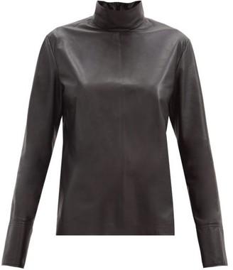Joseph Bibo High-neck Leather Top - Black