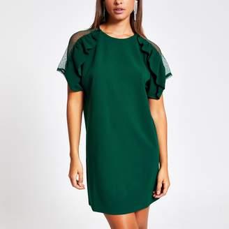 River Island Womens Dark Green ruffle lace short sleeve dress