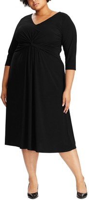 Chaps Plus Size Knot-Front Fit & Flare Dress