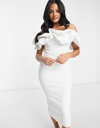 Club L London ruffle frill detail midi pencil dress in white