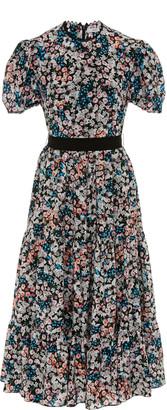 Erdem Ginevra Belted Floral-Print Crepe Midi Dress