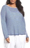 Eileen Fisher Plus Size Women's Stripe Organic Cotton & Linen Sweater