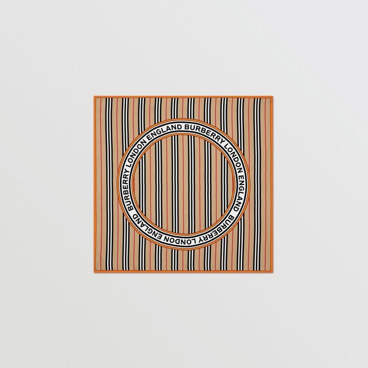 Burberry Icon Stripe and Logo Graphic Silk Square Scarf