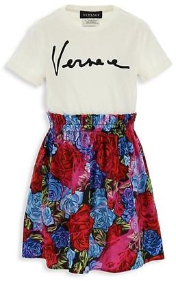 Versace Little Girl's & Girl's Logo Floral-Print Dress