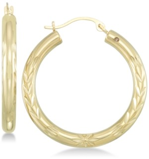 Signature Gold Diamond Accent Leaf Embossed Hoop Earrings in 14k Gold over Resin