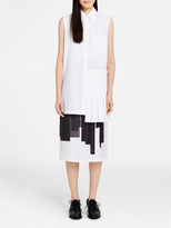 DKNY Collared Tunic With Pleated Panel