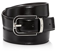 Montblanc Men's Horseshoe Buckle Reversible Leather Belt