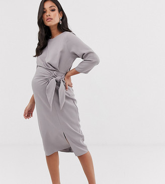 Asos DESIGN Maternity wrap detail midi dress-Grey