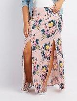 Charlotte Russe Plus Size Floral Double Slit Maxi Skirt