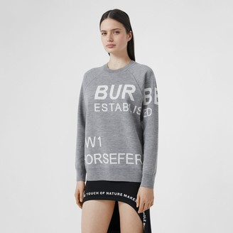 Burberry Horseferry Merino Wool Blend Jacquard Sweater