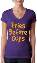 Allntrends Women's V Shirt Fries Before Guys (M, )