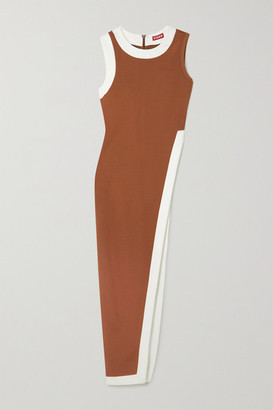 STAUD Asymmetric Two-tone Stretch-ponte Top - Tan