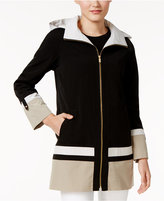 Jones New York Petite Hooded A-Line Colorblocked Raincoat