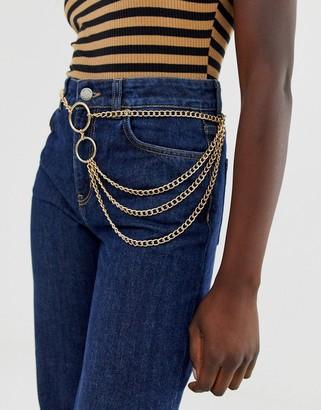 ASOS DESIGN chain waist and hip belt in gold