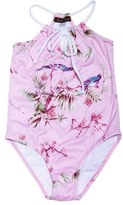Stella Cove Girl's 'Birds On Pink' One-Piece Swimsuit