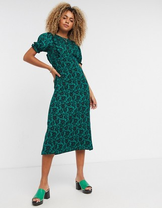Topshop floral-print midi tea dress in green