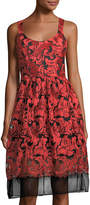 Neiman Marcus Embellished-Mesh Fit-and-Flare Dress