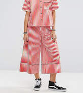 Reclaimed Vintage Inspired Striped Wide Leg Trouser With Piping