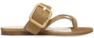 Veronica Beard Salva Raffia Buckle Suede Flat Sandals